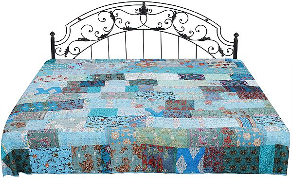 Bachelor-Button Kantha Embroidered Bedcover from Jaipur with Crystals and Patch Work