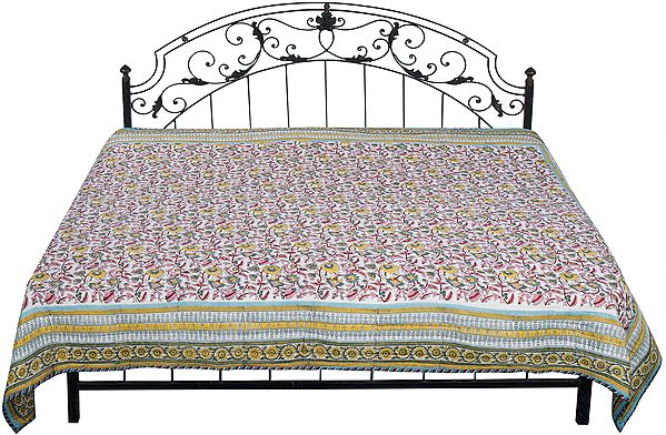 Lily-White Reversible Jaipuri Quilt with Printed Floral Vines