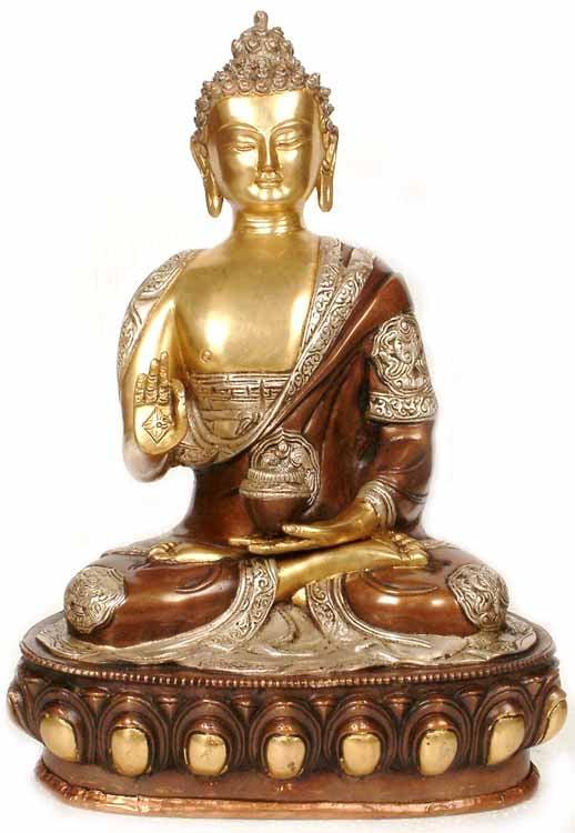 Blessing Buddha with Ashtamangala Carved on His Robe