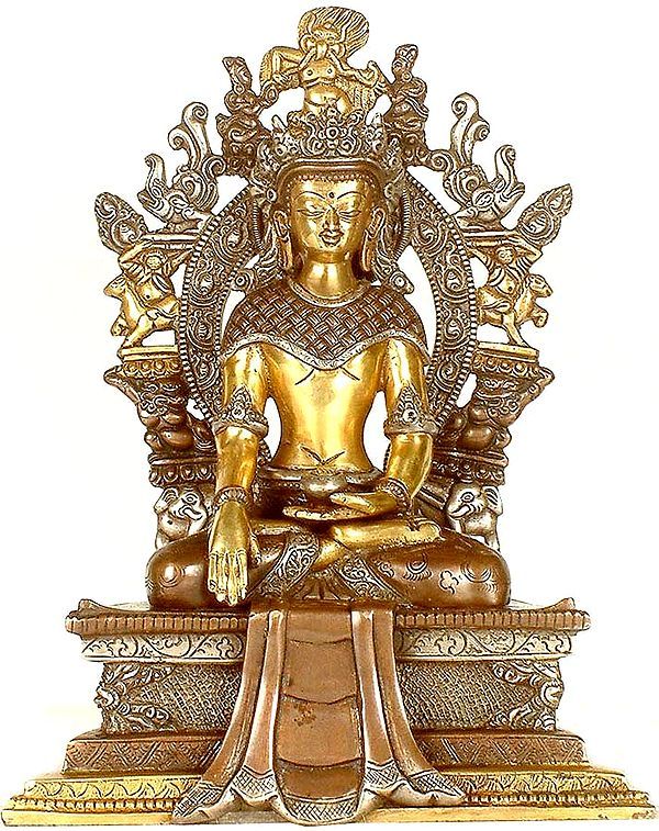 Crowned Buddha Seated on Six-Ornament throne of Enlightenment