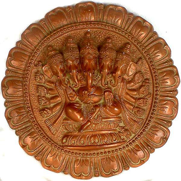 Five-Headed Ten-Armed Lord Ganesha Wall Hanging