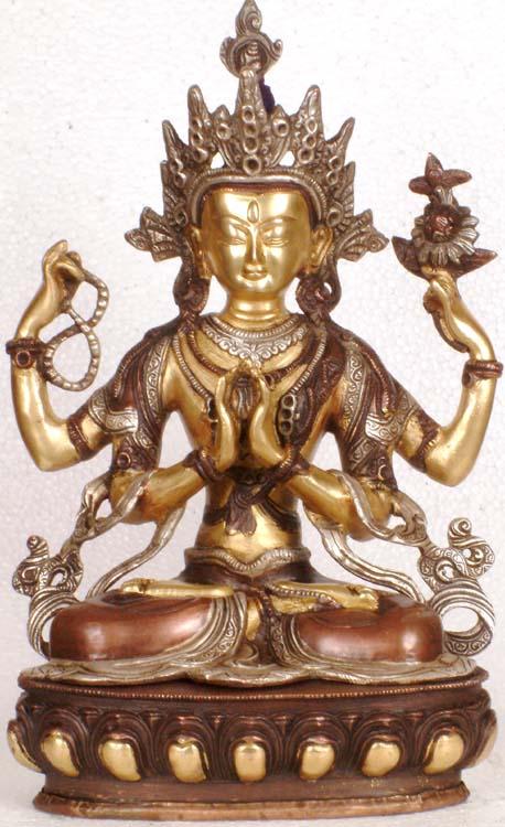 Tibetan Buddhist Deity Chenrezig (Four-Armed Avalokiteshvara)
