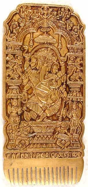 Ganesha Comb with Embracing Radha Krishna in Reverse
