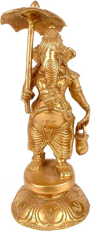 Ganesha With Umbrella and Kamandala
