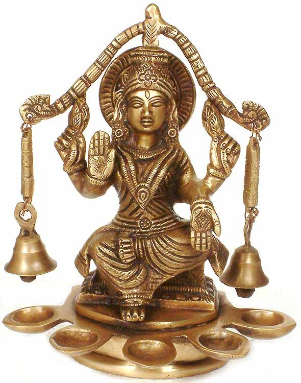 Goddess Lakshmi with Bells and Five Auspicious Lamps
