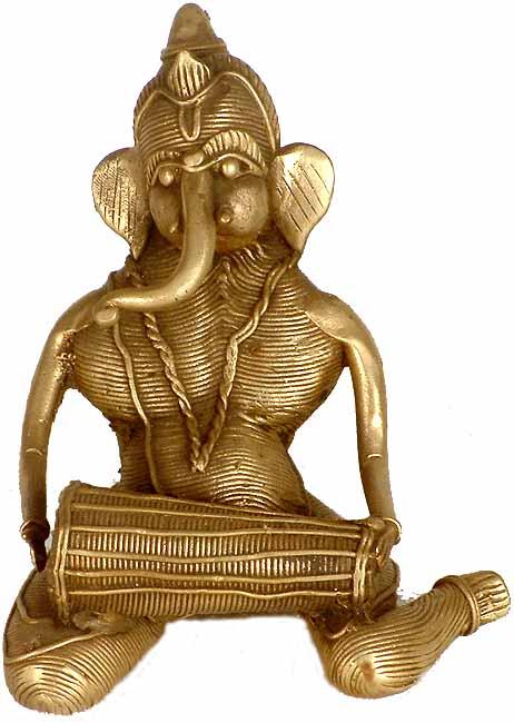 Lord Ganesha Playing The Mridangam