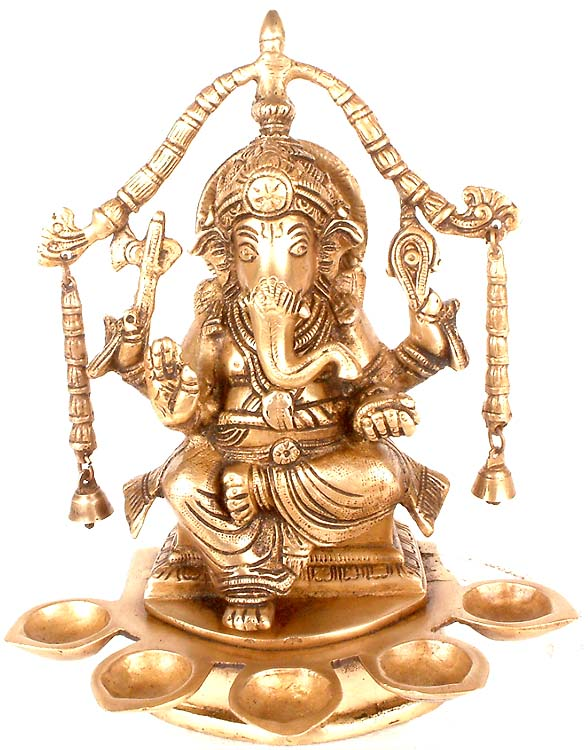 Lord Ganesha with Five Auspicious Lamps
