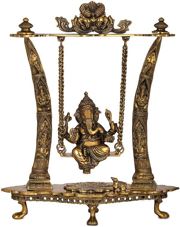 Ganesha Swing - Pillars Decorated with Ganesha Figures