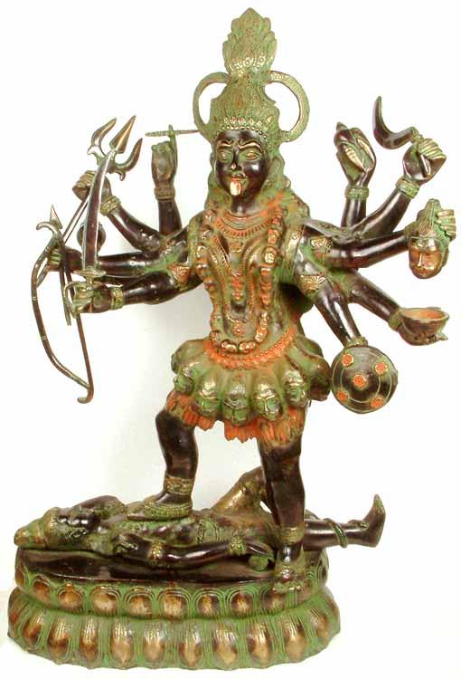 (Large Size) Ten-Armed Black Kali, or Mahakali