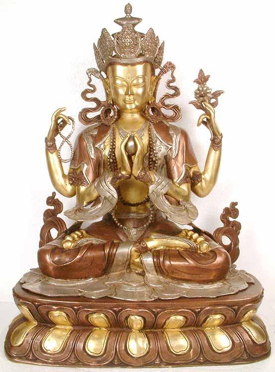 Tibetan Buddhist Deity- The Four-Armed Avalokiteshvara (Chenrezig)