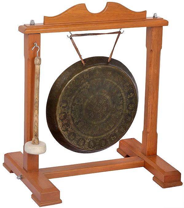 Tibetan Buddhist Monastery Gong with Auspicious Mantras and Symbols