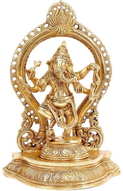 Ganesha Dances Under a Temple Arch