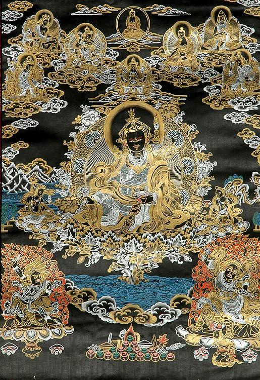 Black Thangka of Guru Padmasambhava (Rare)