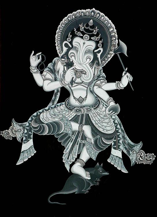 Black Thangka of Nrittya Ganesha