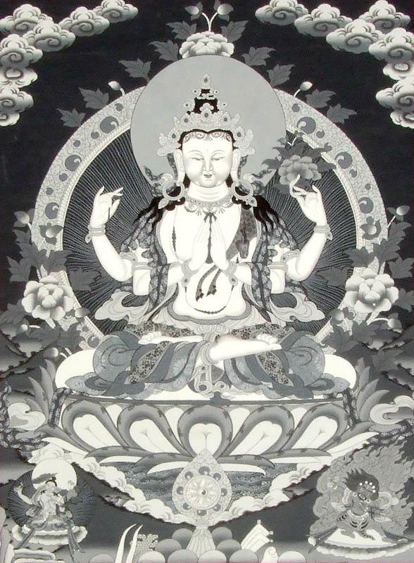 Tibetan Buddhist Chenrezig in Black and White