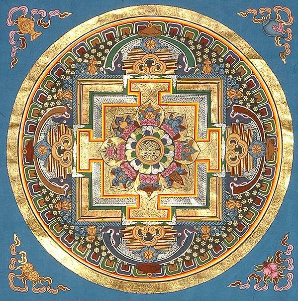 Dharma Chakra Mandala with Ashtamangala