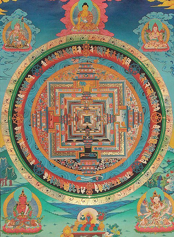 Kalachakra Mandala with Padmasambhava, Shakyamuni, Tsongkhapa, Amitayus Buddha and Goddess Ushnishavijaya