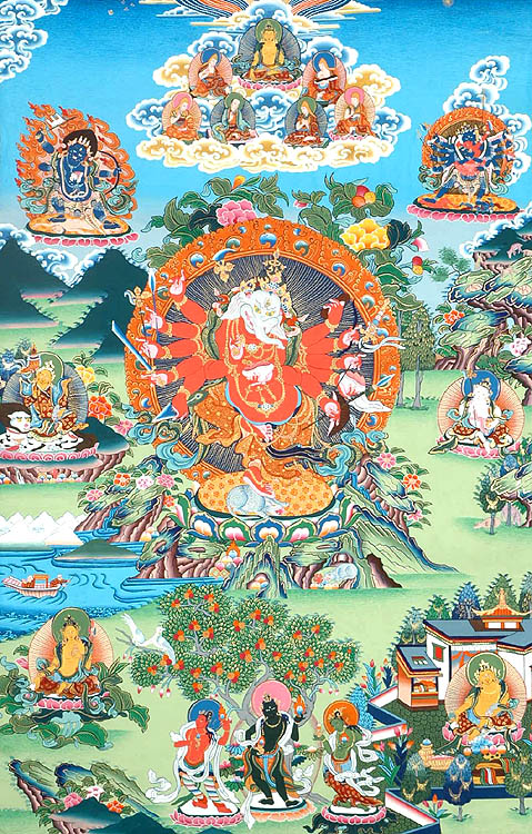 Lord Ganesha Surrounded by Buddhist Deities