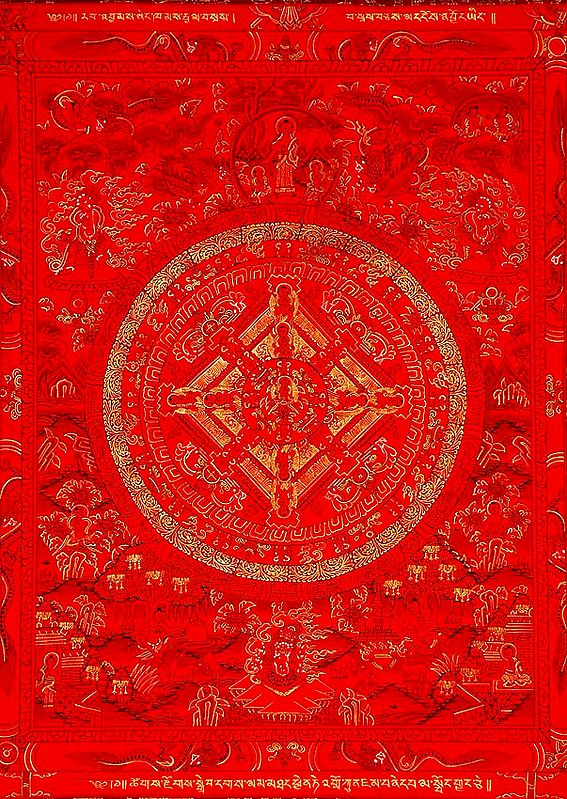 Red Mandala of Buddha with Wrathful Guardians and Great Adepts