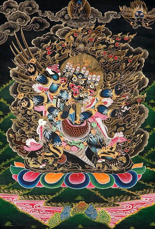Six-Armed Winged Vajrakumara (Vajrakilaya) in Yab Yum
