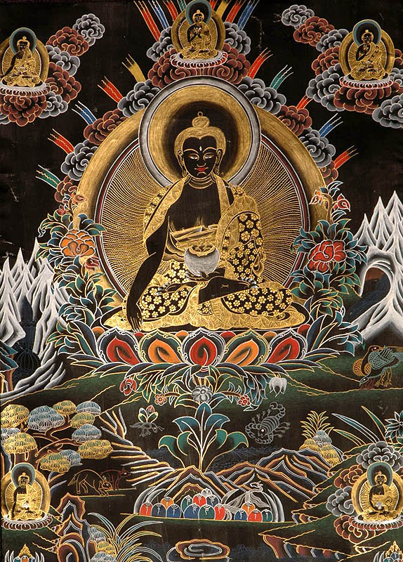 The (Tibetan Buddhist) Buddha Shakyamuni with Five Dhyani Buddhas (Black Thangka)