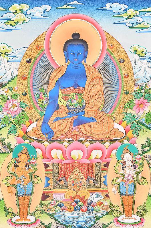 Tibetan Buddhist Deity Bhaishajyaguru (The Medicine Buddha)