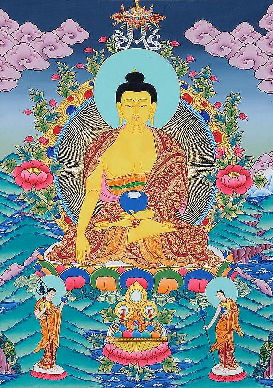 Shakyamuni Buddha with Begging Bowl and Two Main Disciples Shariputra and Maudgalyayana