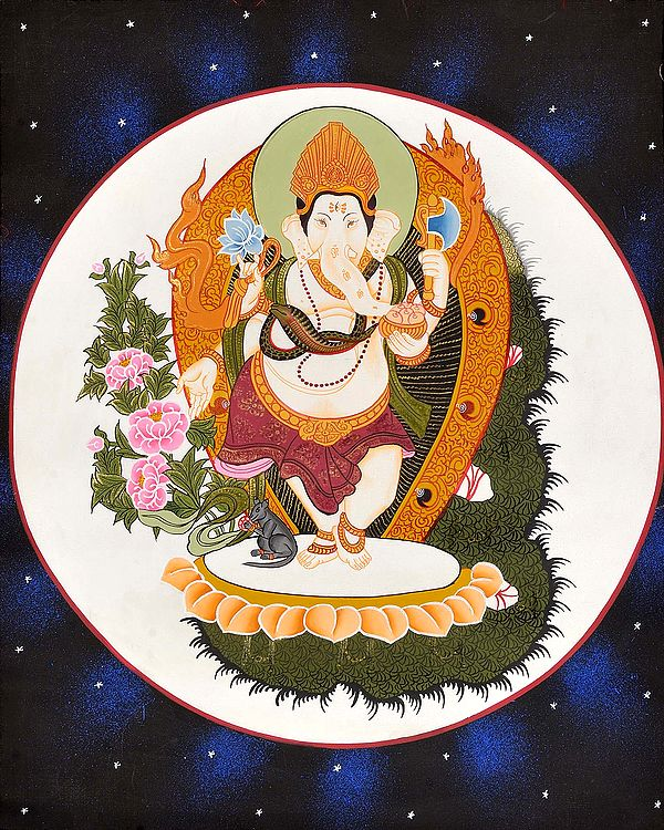 Ganesha Dancing Against Moon