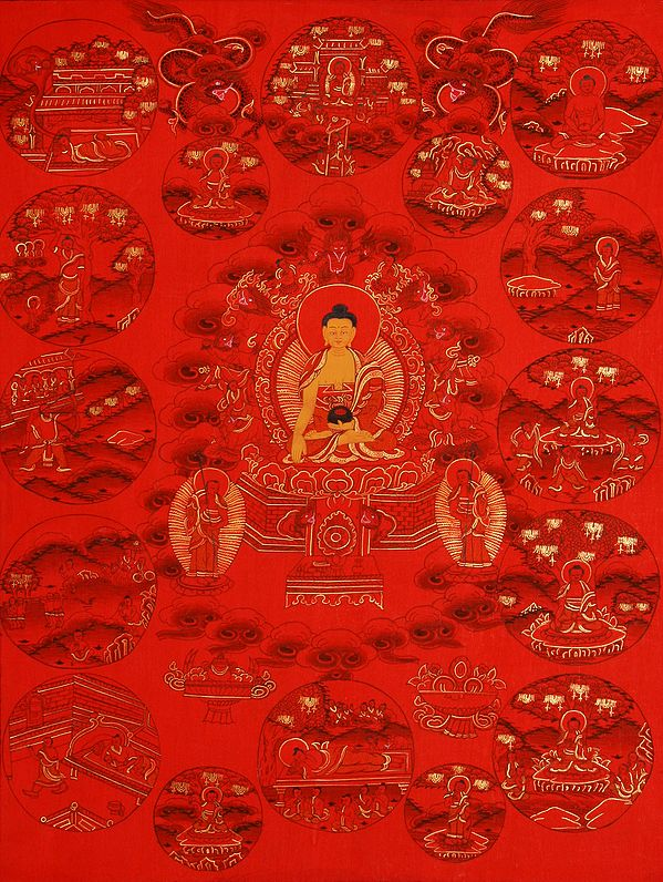 Tibetan Buddhist Deity Buddha Shakyamuni Seated on the Six-Ornament Throne of Enlightenment and the Events from His Life in Golden Orb