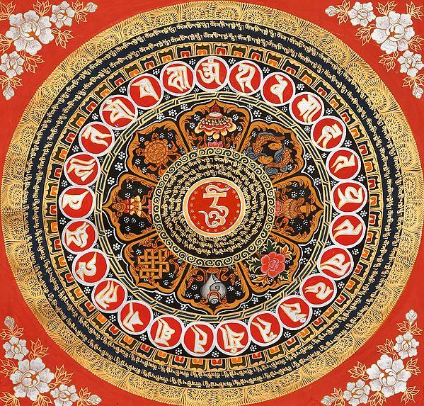 OM Mandala with Ashtamangala Symbols