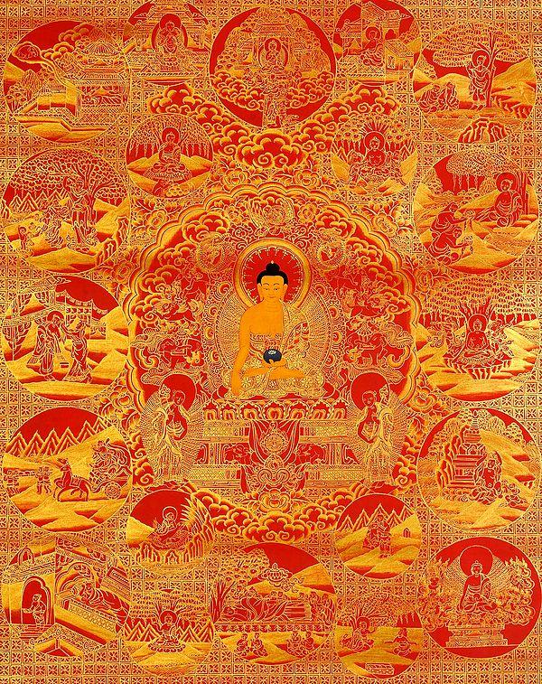 Gautama Buddha and Scenes from His Life (Tibetan Buddhist)