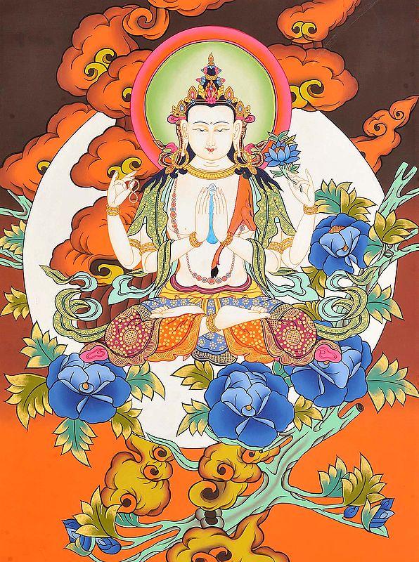Sadakshari Lokeshvara In The Lap Of The Moon (Tibetan Buddhist Deity)