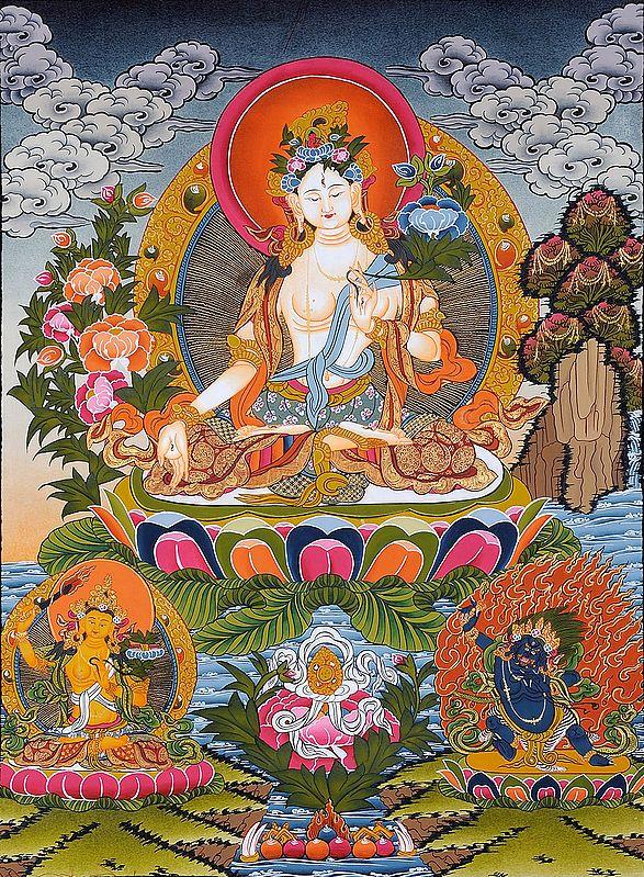Sapta-lochani Mother Goddess Tara with Manjushri and Vajrapani