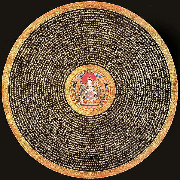 Tibetan Buddhist Goddess White Tara Mandala with Syllable Mantra (Large Size)