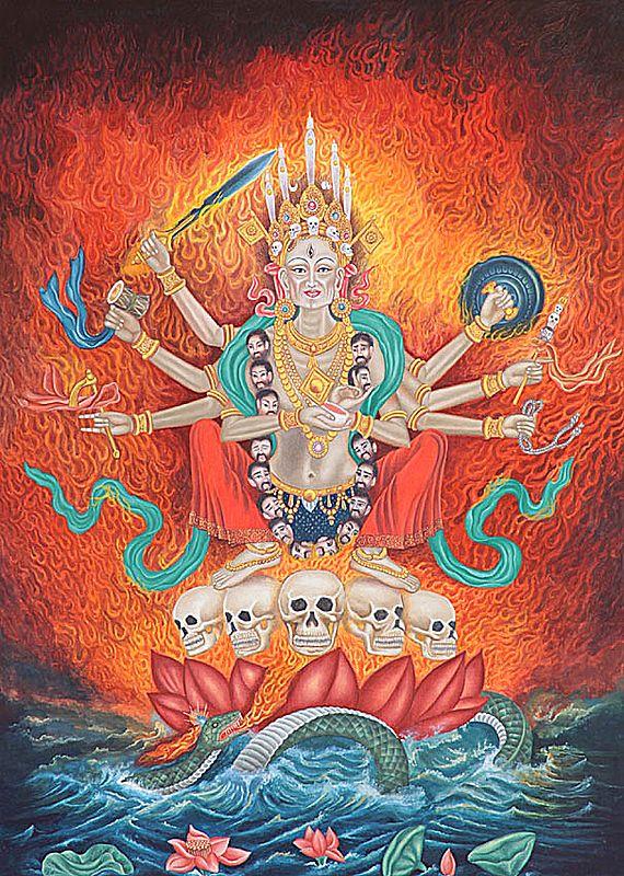 Tibetan Buddhist Goddess Chamunda of Nepal Making the Bindu Mudra