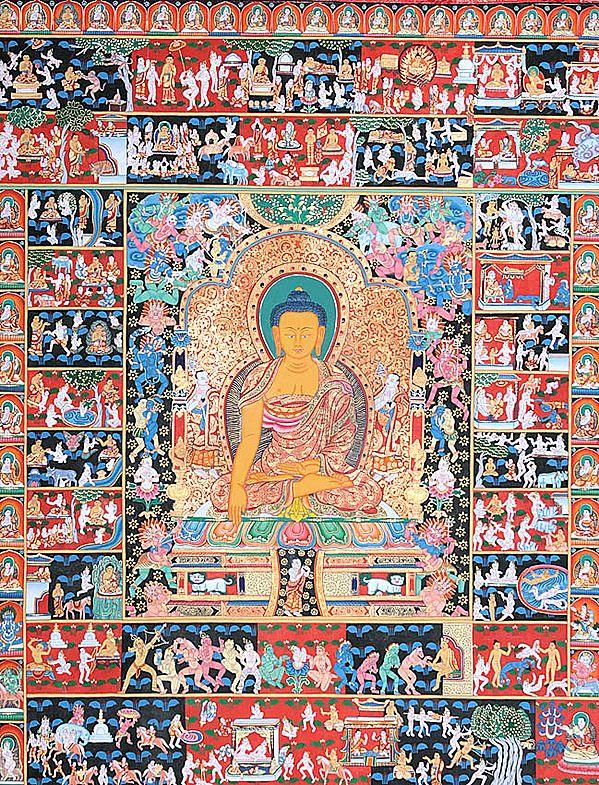 The Temptation of Shakyamuni Buddha by Mara and Scenes from His Life (Large Thangka)