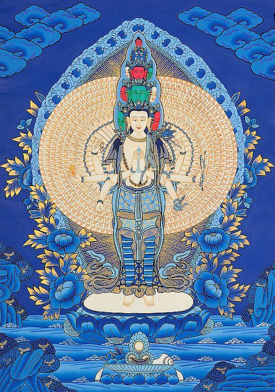 Ekadashamukha (Eleven-Headed) Avalokiteshvara (Tibetan Buddhist Deity)