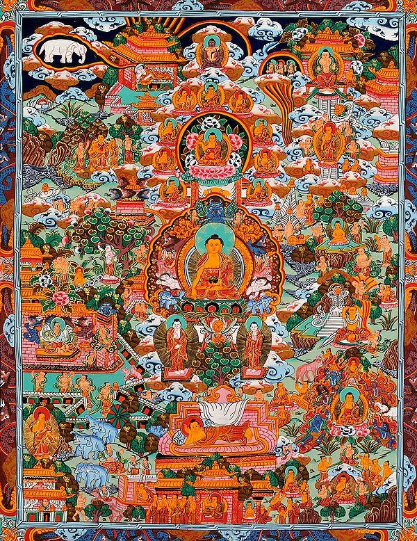 Gautama Buddha and the Scenes from His Life (Tibetan Buddhist)