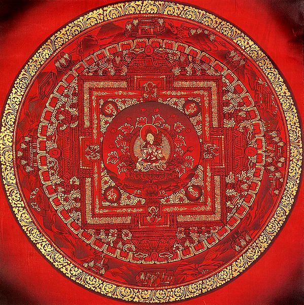 Red Hue Mandala of Tibetan Buddhist Goddess White Tara