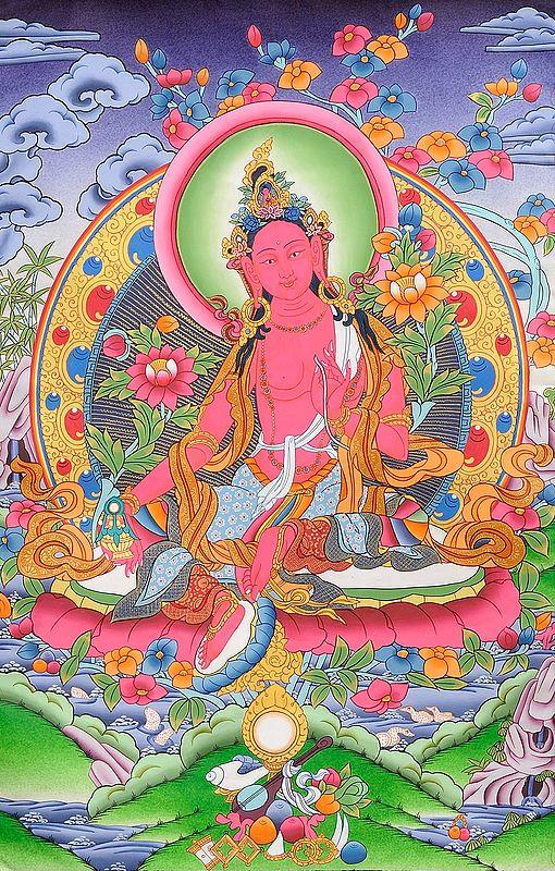 Tibetan Buddhist Brown Tara with Long-Life Vase