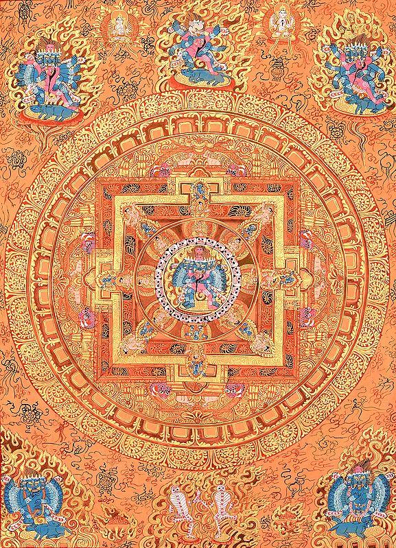 Tibetan Buddhist Mandala of Heruka in Yab Yum