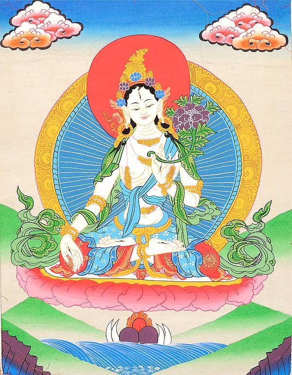 (Tibetan Buddhist) Sapta-Lochani Goddess White Tara Who Bestows The Special Gift of Long Life on Her Devotees