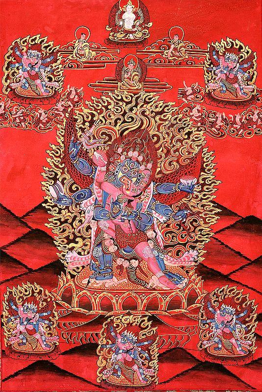 Six-Armed Winged (Tibetan Buddhist) Mahakala in Yab Yum
