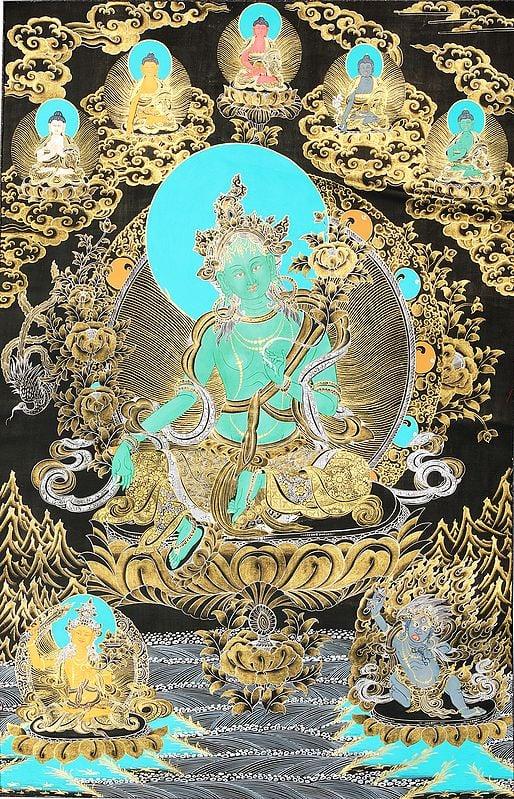 Savior Goddess Green Tara With Five Dhyani Buddhas (Tibetan Buddhist)