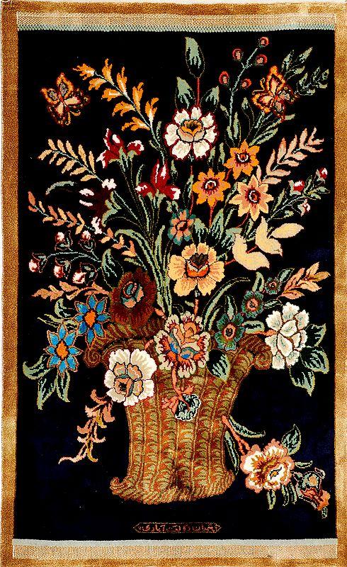 Eclipse-Blue Kashmiri Carpet with Knotted Flower Vase