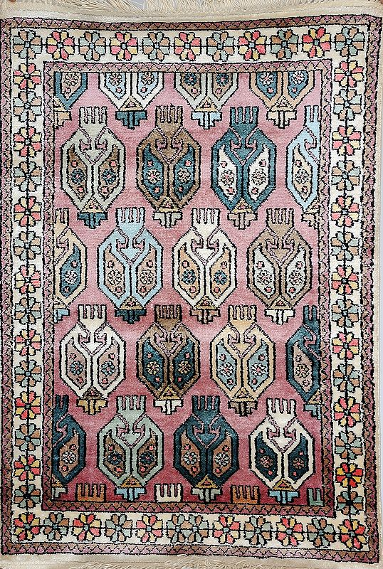 Silver-Pink Carpet from Kashmir with Knotted Paisleys and Flowers