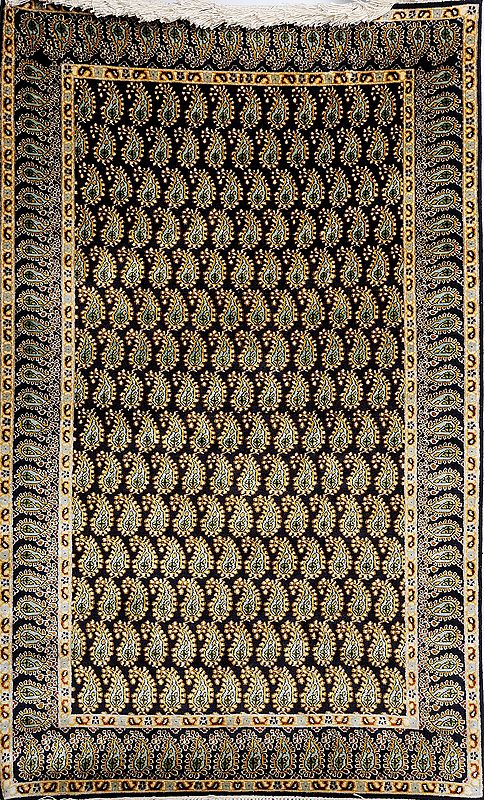 Black Kashmiri Carpet With Knotted Piasleys All-Over