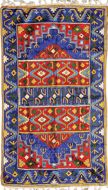 Blue and Red Prayer Asana from Kashmir with Embroidered Persian Design