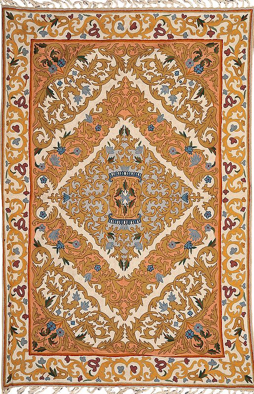 Cream Embroidered Asana Mat from Kashmir with Mughal Design