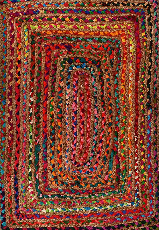 Multicolored Carpet with Jute